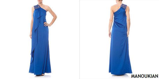 MANOUKIAN Robe longue asymétrique bleue