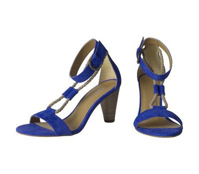 Sandales Mariella en daim bleu