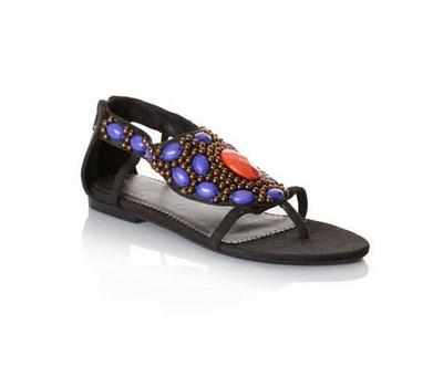 Sandales perlées noires MORGAN