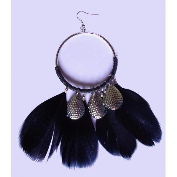 Bijoux à plumes boucles d'oreilles