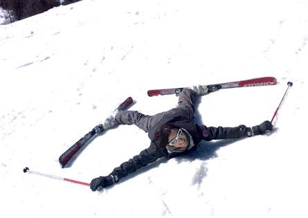 Petite chute en ski