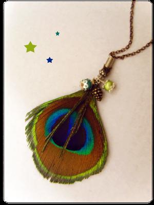 bijoux plumes paon