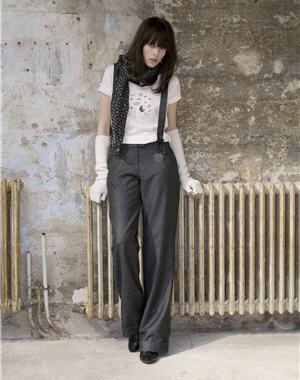 Pantalon large gris Maje pour La Redoute